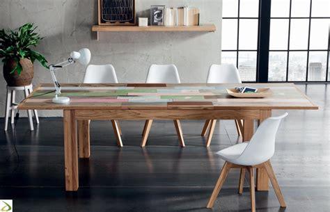 tavolo quadrato allungabile legno massello tavolo in legno multicolor yellowstone arredo design