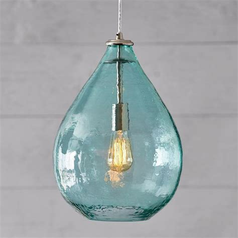 blue glass pendant light oversized blue glass waterdrop pendant