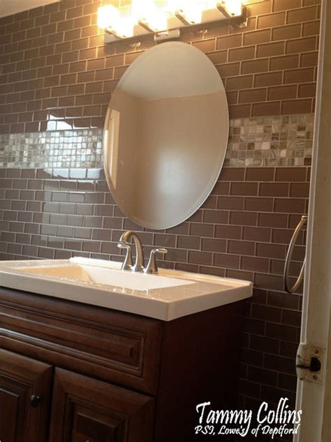 glass tile powder room glass tile powder room traditional powder room other metro by lowe s of deptford nj