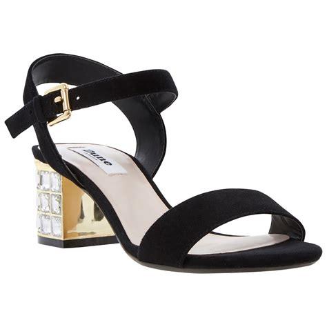 suede heeled sandals dune harah suede jewelled block heel sandals in black