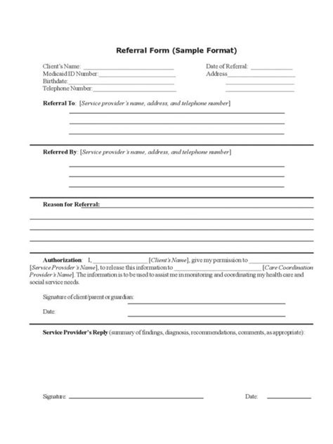 referral form template referral form template images resume ideas