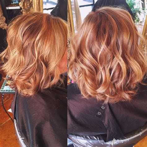 blonde and copper hairstyles copper hair color with balayaged highlights hair by