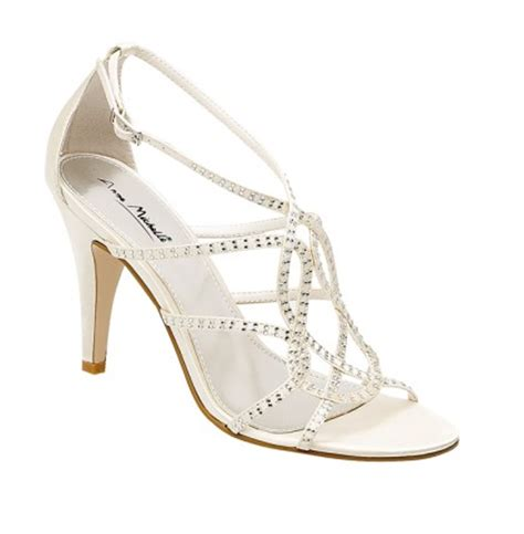 Strappy Ivory Bridal Shoes by Gorgeous Ivory Diamante Strappy Wedding Shoes Sang Maestro
