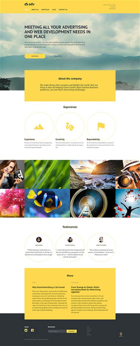 free responsive website templates for advertising agency purple and blue websites are in entheos