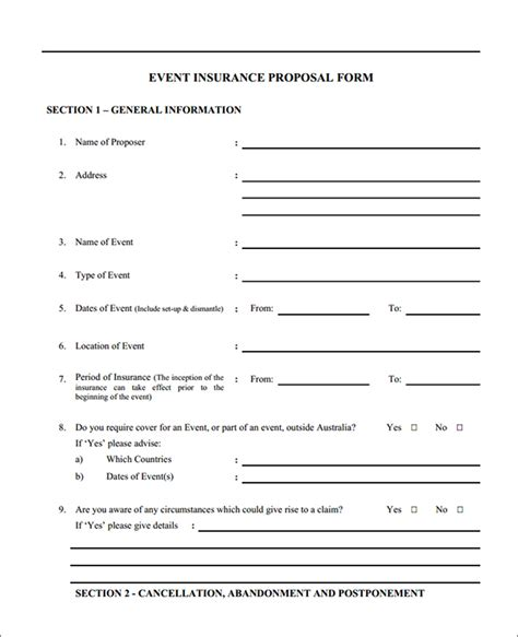 Event Insurance Proposal Form, Sample Event Insurance