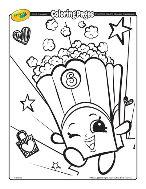 crayola coloring pages shopkins poppy corn coloring page crayola