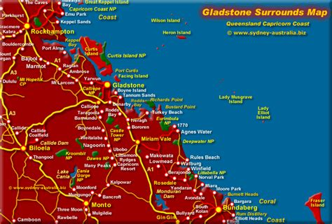 map of australia and surrounds gladstone qld map surrounds