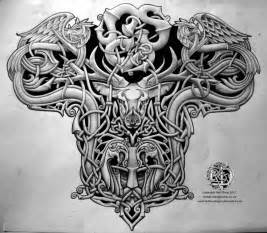 Men celtic tattoos design back view