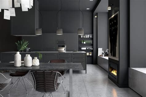 moody monochromatic kitchen design with a masculine feel