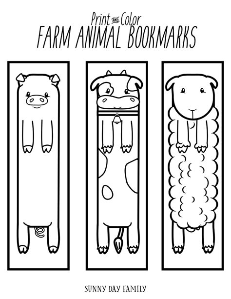 printable bookmarks of animals free printable farm animal bookmarks for kids to color
