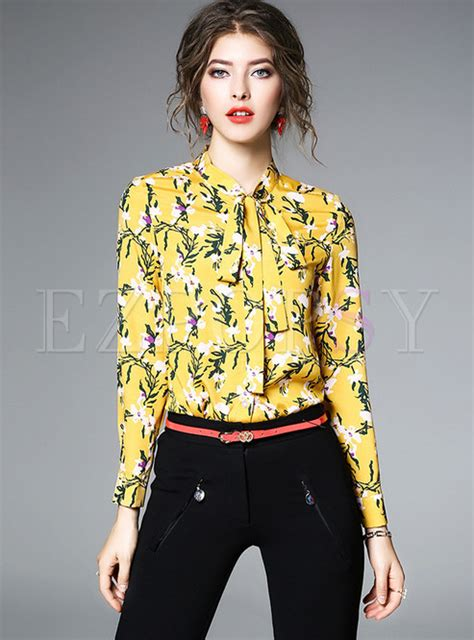 Stand Collar Floral Blouse yellow floral print stand collar blouse ezpopsy
