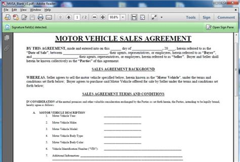 motor vehicle sales agreement template give you a motor vehicle sales contract template