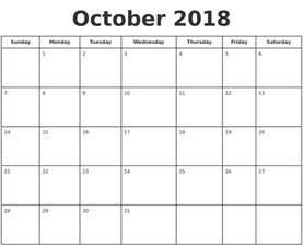 Print A Calendar 2018 October 2018 Print A Calendar