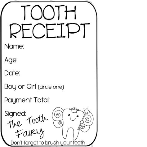 tooth receipt template tooth receipt free printable tips tricks
