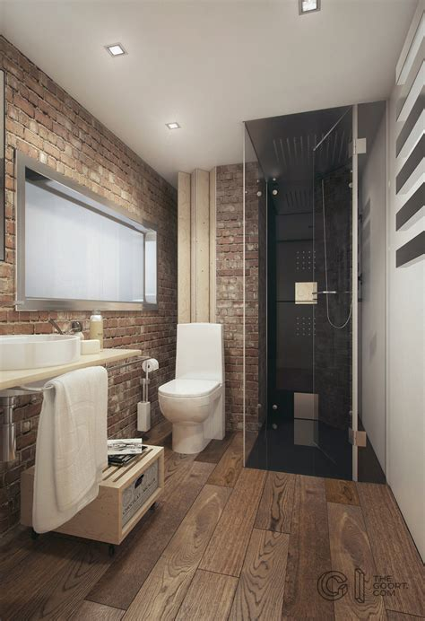 home designing com brick and wood bathroom interior design ideas