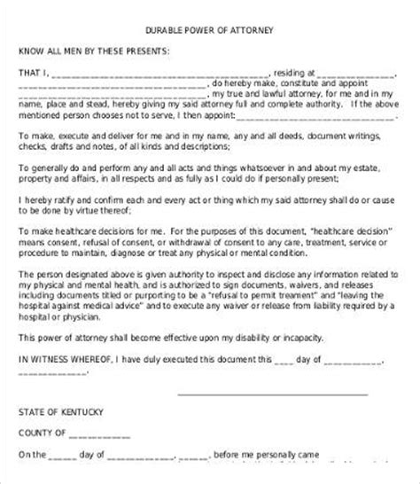 free printable durable power of attorney template power of attorney form free printable 9 free word pdf