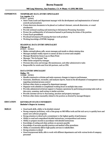 sle resume for data entry specialist data entry specialist resume sles velvet