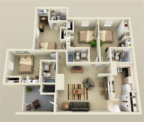 3 and 4 bedroom apartments 98 best floor plans and 3d models images on pinterest