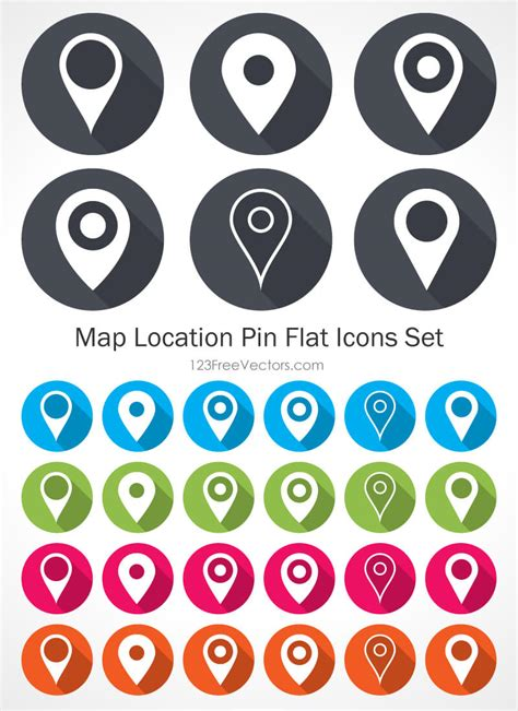 map location pin flat icons set 123freevectors