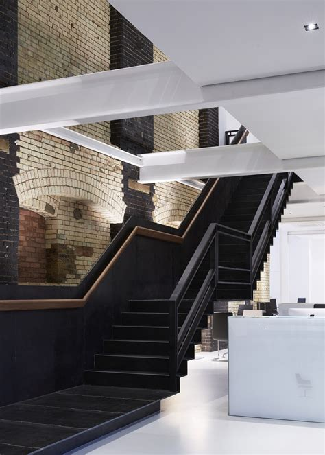 black staircase impressive furniture showroom occupying a 3 storey