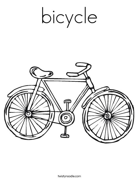 bicycle coloring page twisty noodle
