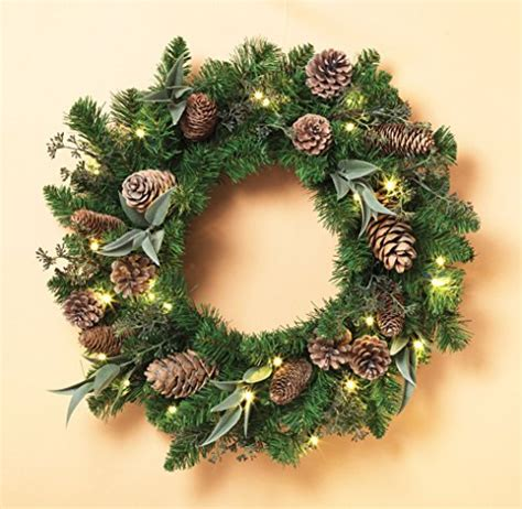 cordless 24 quot pre lit led christmas pine wreath with cones