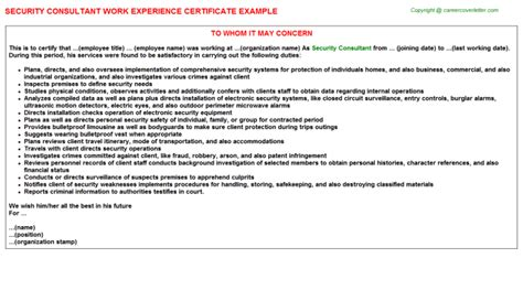 Experience Letter Providing Consultancy security consultant title docs