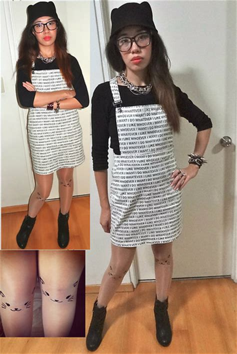 tattoo stockings singapore monica seet singapore cat ear hat h m graphic pinafore