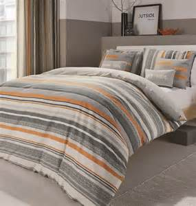 Orange And Gray Bedding by Striped Reversible Duvet Cover Bed Sets Orange