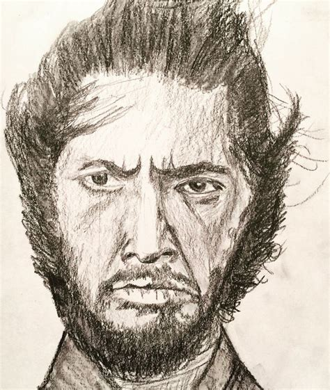 sketchbook smudge sketch of toshiro mifune using 6b pencil and smudge stick