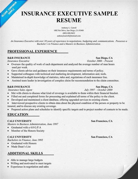 Insurance Broker Resume by Insurance Executive Resume Sle Resumecompanion Carol Sand Resume Sles