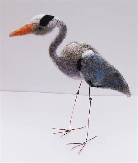 Handmade Needle - handmade needle felt grey heron by feltingforengland