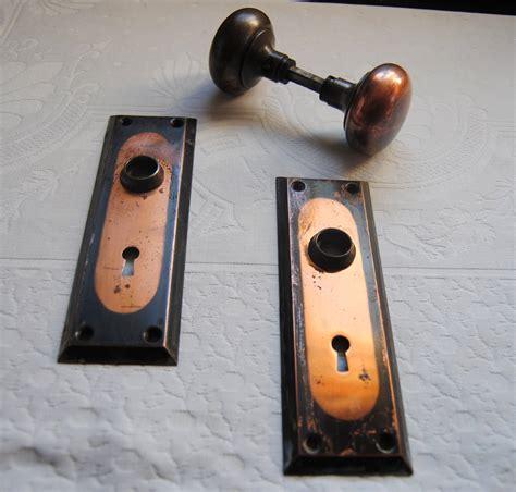 Arts And Crafts Door Knobs by Vintage Copper Door Knob Set And Backplates Arts Crafts