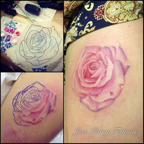 pink rose tattoos realistic pink by jess parry tattoos