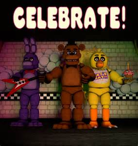 Fnaf 1 celebrate poster made in cinema 4d by thegoanimateguy67 on
