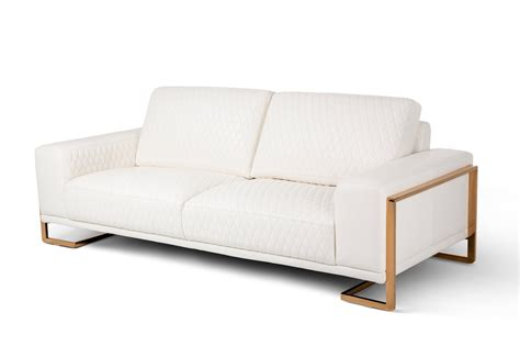 Michael Gold Furniture by Michael Amini White Quilted Genuine