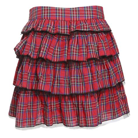 womens frilled ruffle mini skirt tartan tiered