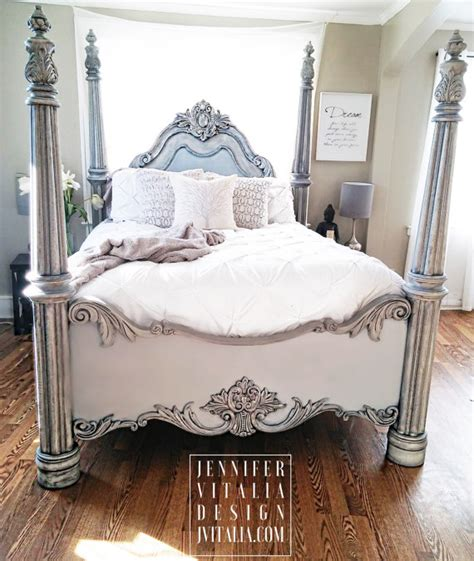 sold poster bed handpainted gray bed frame