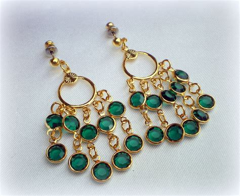 Emerald Green Chandelier Earrings Vintage Green Chandelier Earrings Emerald By Vintagetrinkets4u