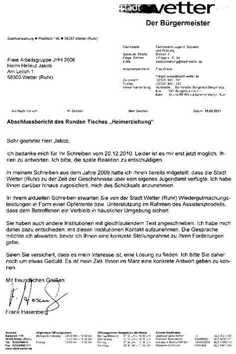 Ich Verbleibe Mit Freundlichen Grüßen Brief Runder Tisch Volmarstein Wiedergutmachung Der Verbrechen Durch Kirche Und Staat