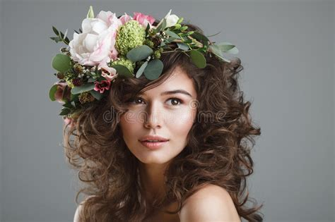Cheerful Fantasia Flowercrown Flower Crown stubio portrait of with flower crown stock photo image of flowers