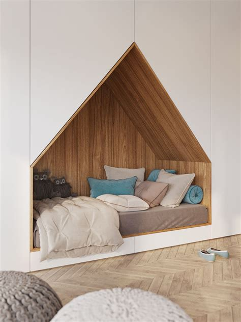 Bed Built Into Floor by This Bedroom Design For A Features A Bed Built Into A Wall Of Cabinets Contemporist