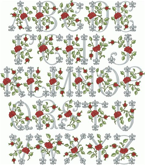 Rose Pattern Font | abc designs royal rose font machine embroidery designs for