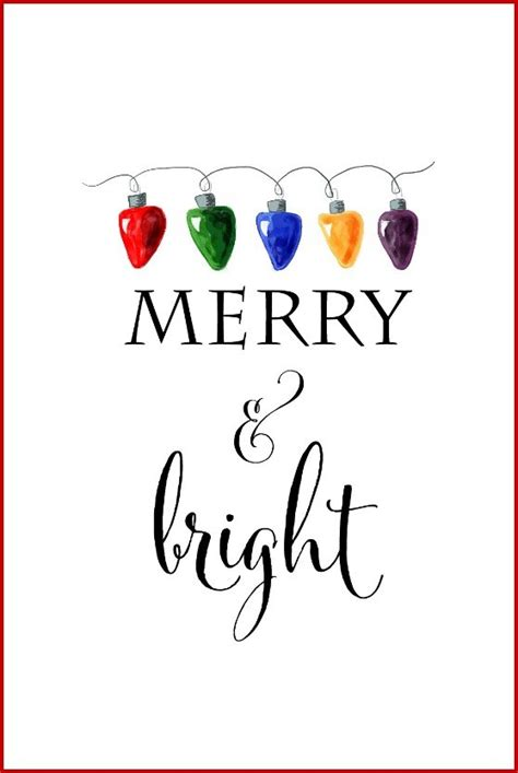Merry And Bright Card Template by Free Printable Signs Roundup