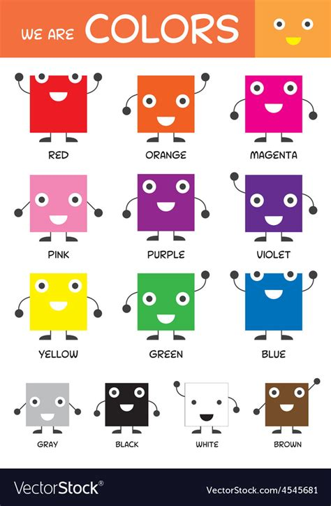 colors free basic colors chart royalty free vector image