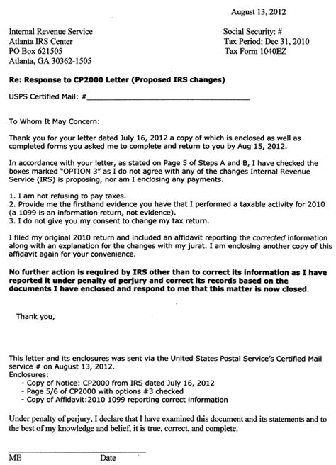 Cp2000 Response Letter Exle Irs Response Letter Template Letter Template 2017
