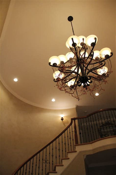 Garland Home Decor Grapvine And Berry Garland In The Foyer Chandelier