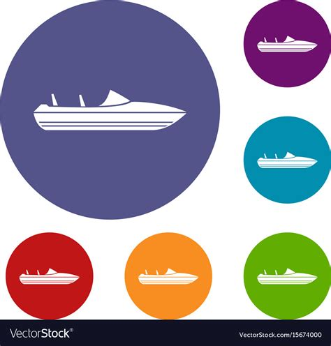 powerboat icon little powerboat icons set royalty free vector image