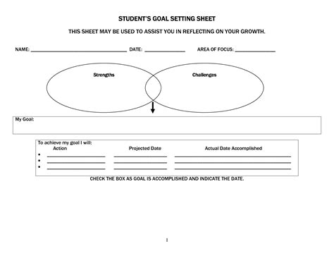 student learning goals worksheet students goal setting sheet this may be used 4th grade goal setting sheet