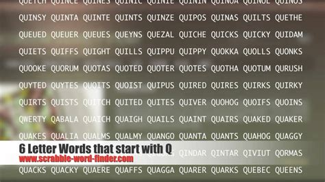 scrabble words that start with w 6 letter words that start with q